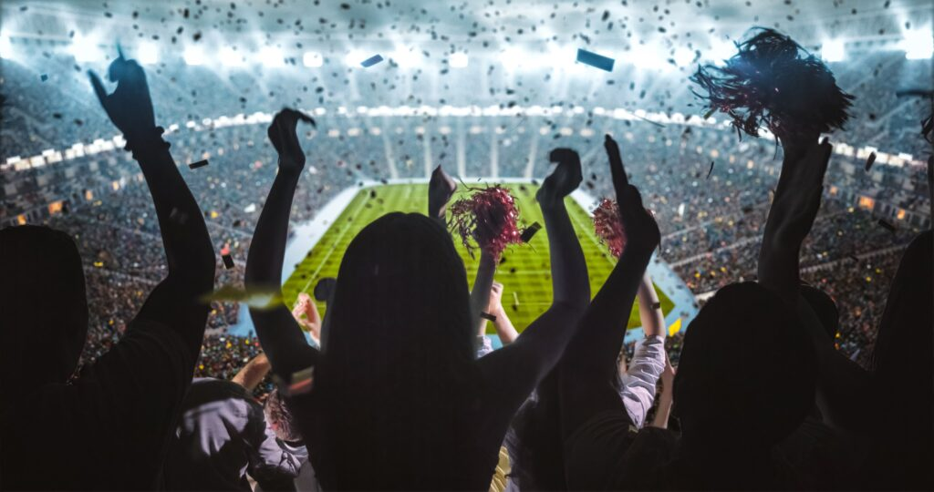 Large crowd cheering in stadium