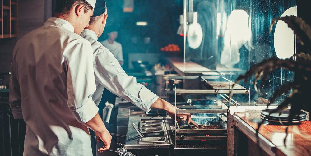 Restaurant kitchen with chefs