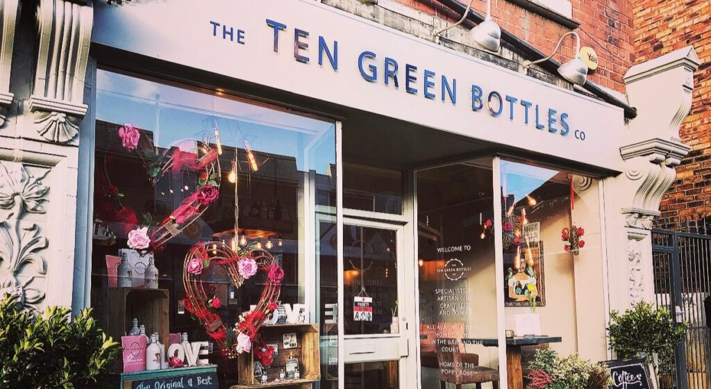 Ten green bottles store front